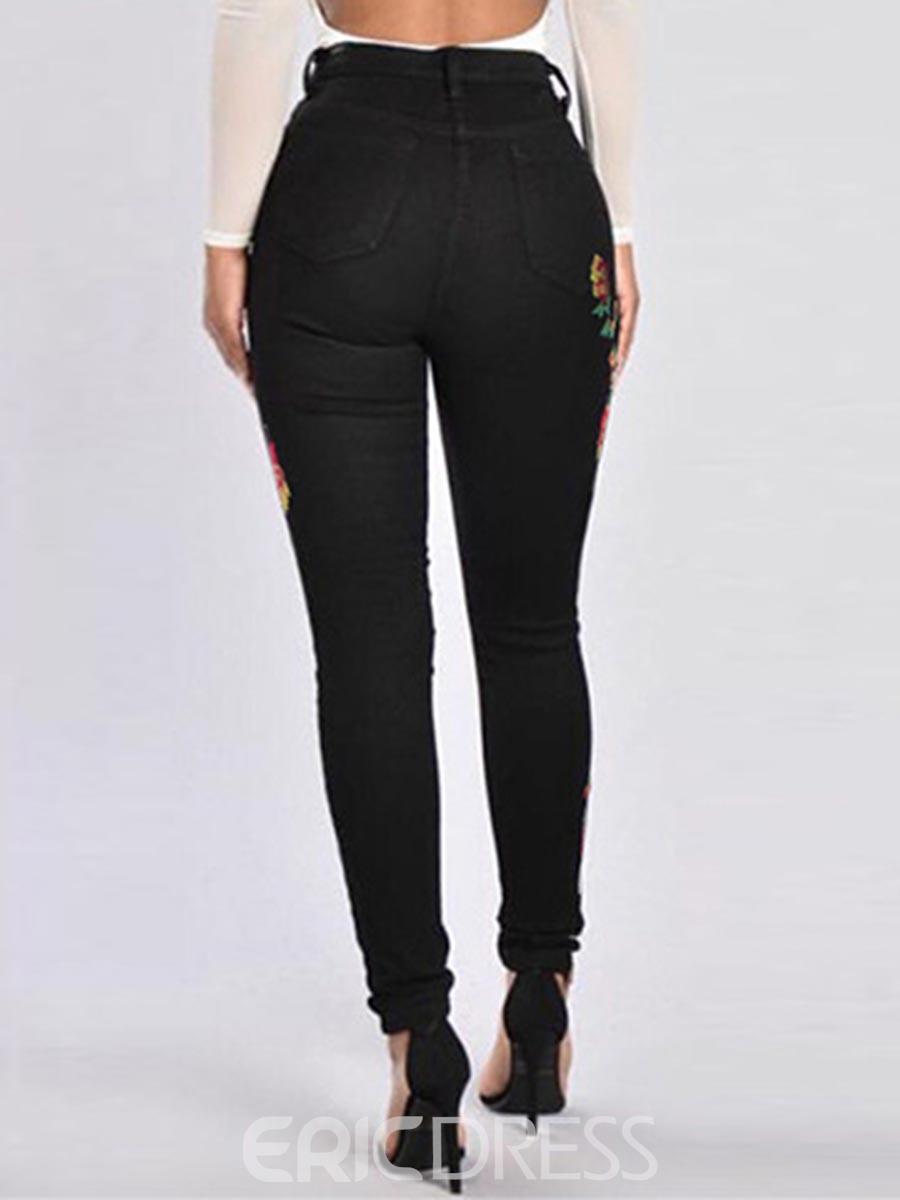 Ericdress High-Waist Embroidery Pocket Jeans