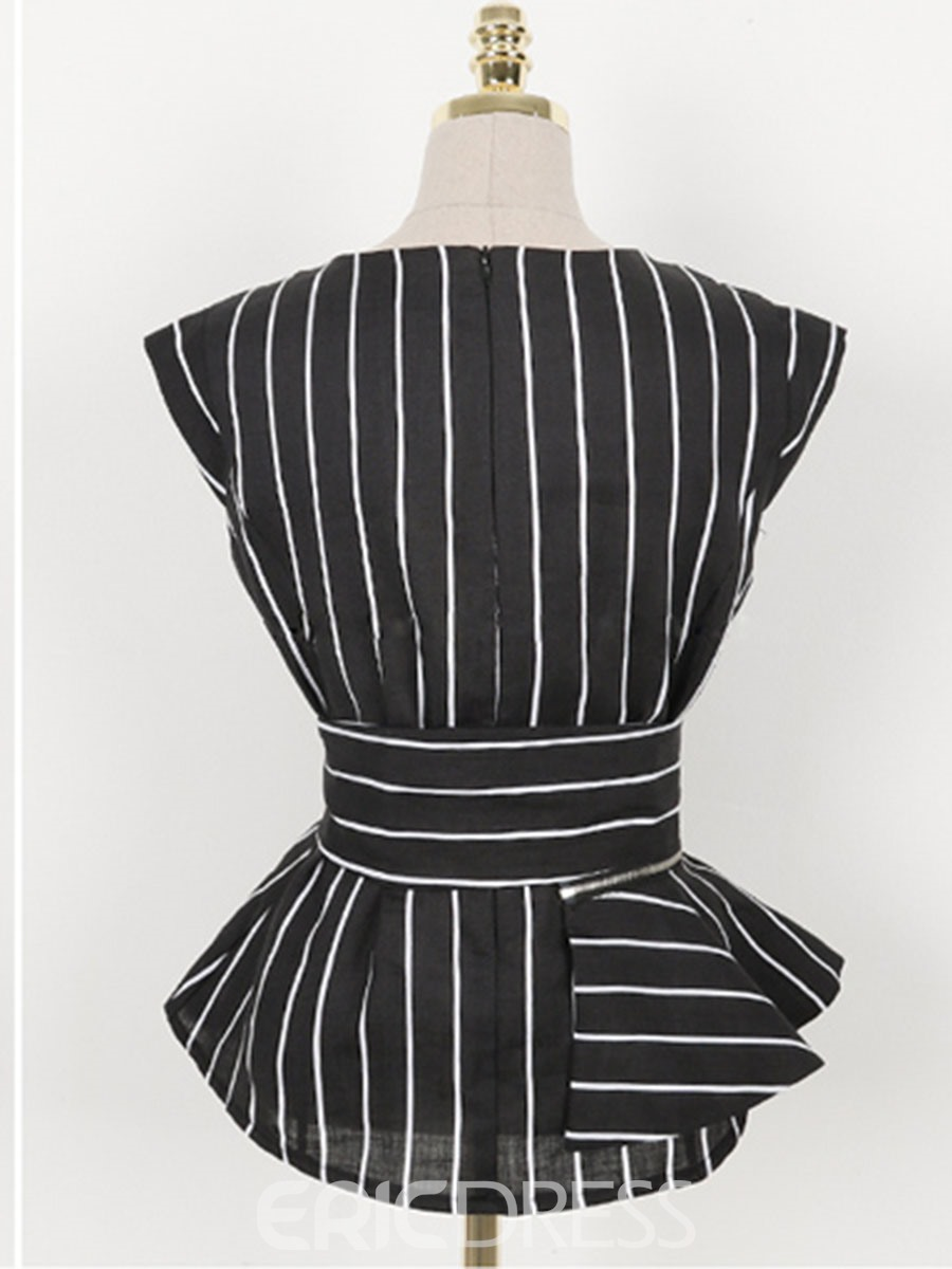 Ericdress Stripe Lace-Up Ruffles Leisure Suits