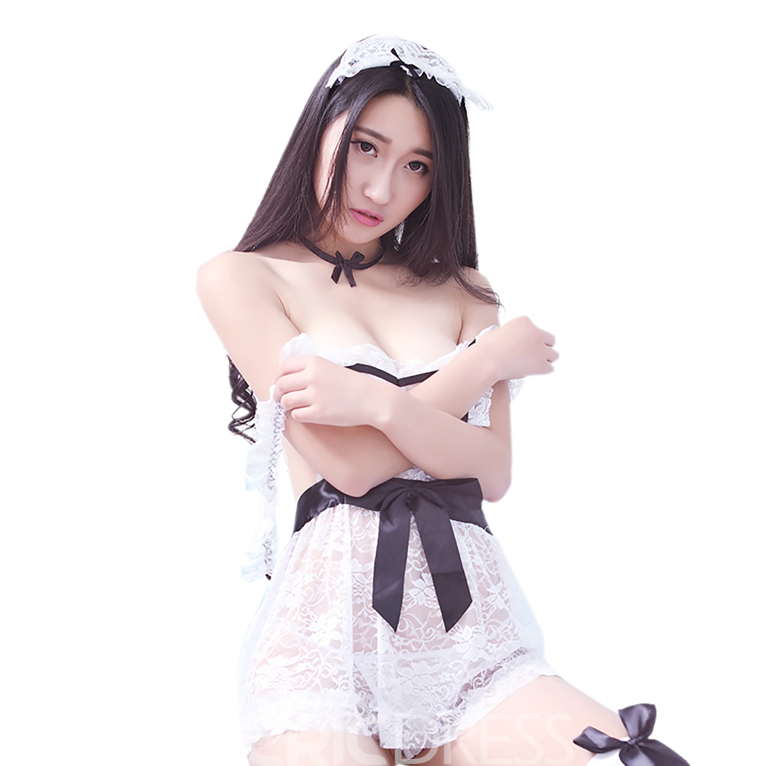 Ericdress Cute Cross Strap Color Block Maid Costume