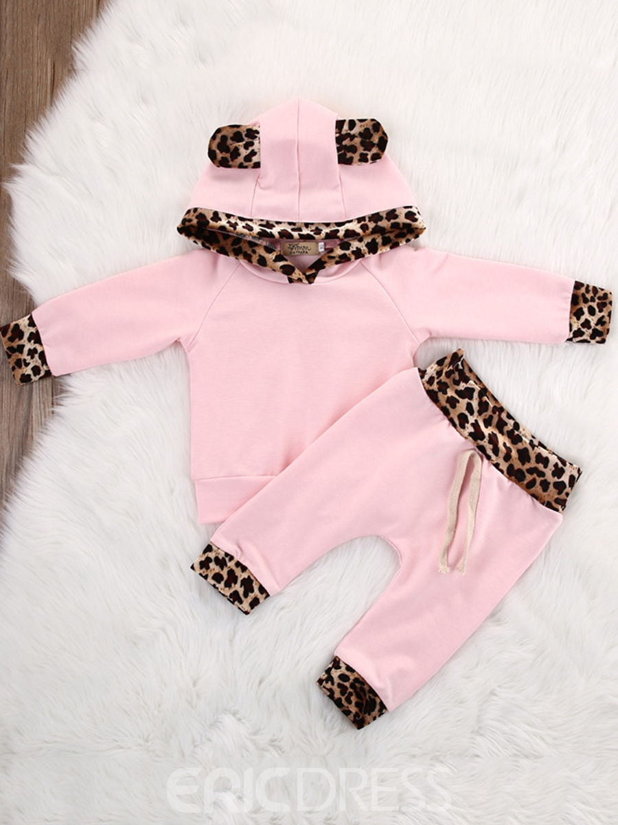 Ericdress Leopard Print Patchwork Cute Hoodie And Pant Baby Girls Outfit