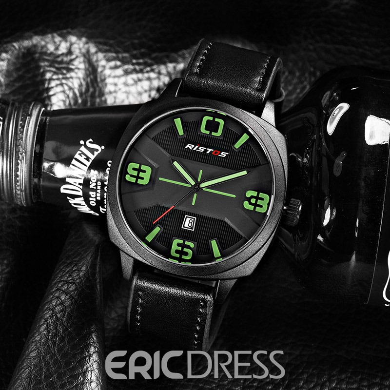 Ericdress Concise Style Waterproof Leather Strap Watch for Men
