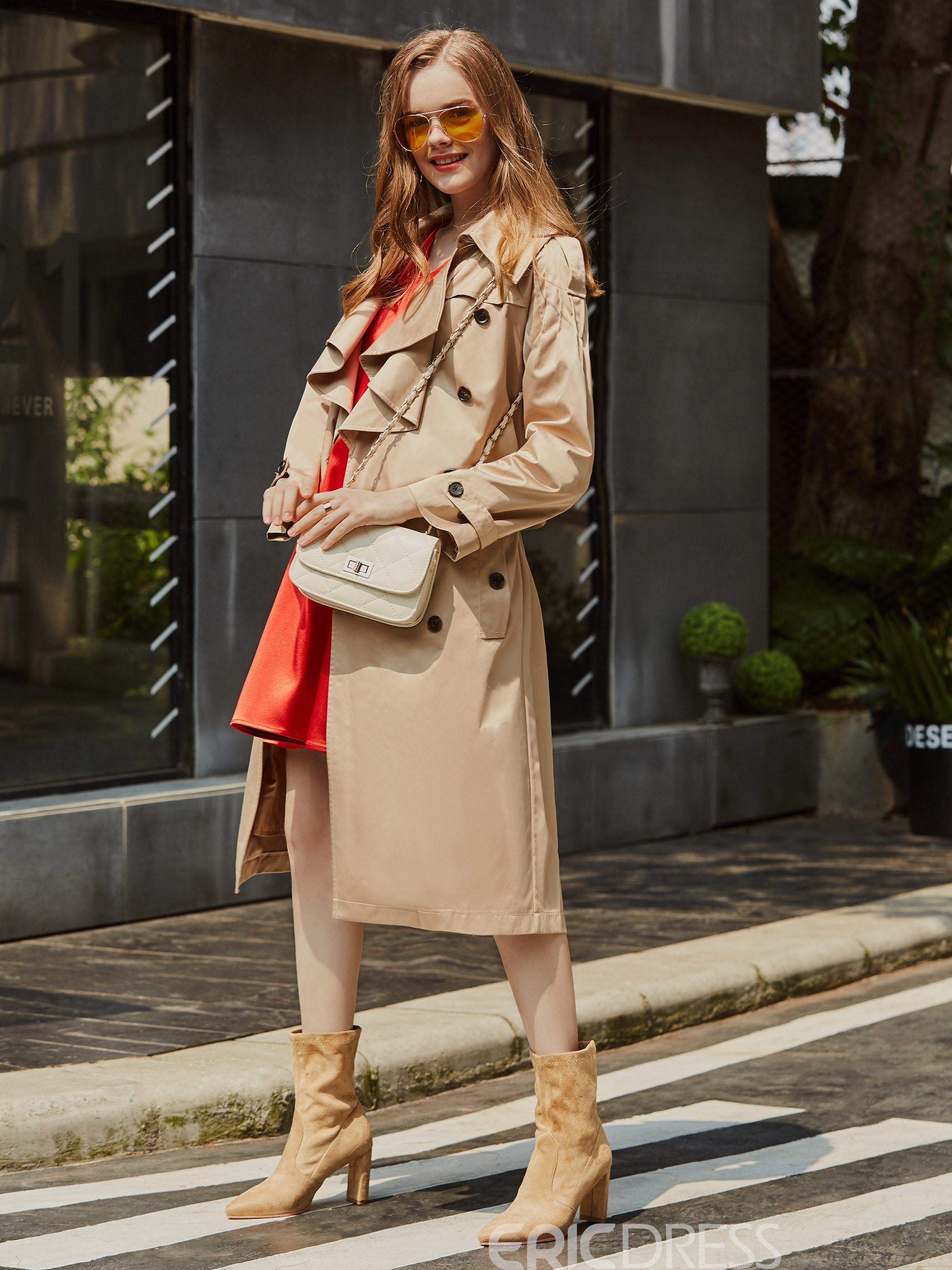 Image of Ericdress Lapel Plain Double-Breasted Trench Coat