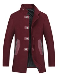 Ericdress Mid-Length Stand Collar Patchwork Mens Trench Coat