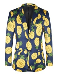 Ericdress Pineapple Print Color Block Notched Lapel Mens Blazer