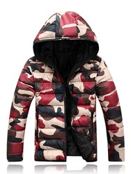 Ericdress Camouflage Hooded Zipper Style Mens Down Jacket фото