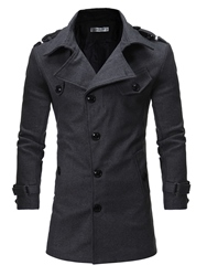 Ericdress Notched Lapel Slim Solid Color Mens Trench Coat