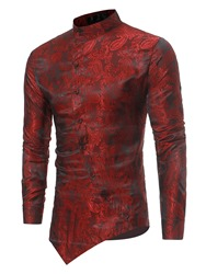 Ericdress Stand Collar Irregular Print Slim Mens Shirt фото