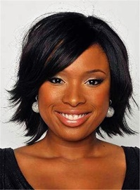 Ericdress Celebrity Dark Brown Tilted Natural Invert Bob Soft Straight Short Synthetic Lace Front Cap African American Wigs 10 Inches