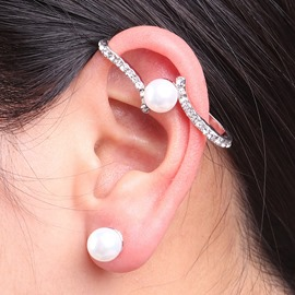 Ericdress Pearl Inlay Diamante All Match Women's Ear Cuff