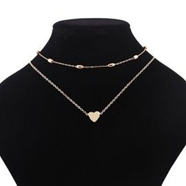 Ericdress Concise Two-Layer Heart Pendant Women's Necklace