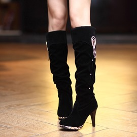Ericdress Fringe Rhinestone Plain Knee High Boots