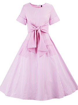Ericdress Bowknot Striped Pocket Expansion A Line Dress