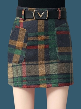 Ericdress High-Waist Thick Plaid Women's Skirt