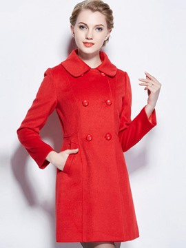 Ericdress Slim Peter Pan Collar Double-Breasted Coat