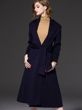 Ericdress A Line Plain Hidden Button Belt Coat