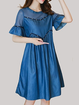 Ericdress Ruffle Sleeve Bead Denim A Line Dress