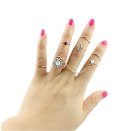 Ericdress Vintage Diamante 7-Piece Ring Set for Women