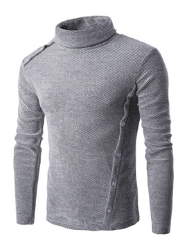 Ericdress Solid Color Slim Heap Collar Men's Pullover Sweater