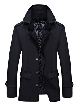 Ericdress Stand Collar Solid Color Men's Trench Coat
