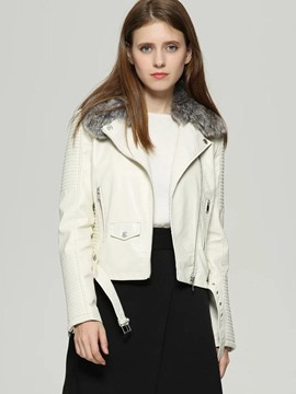 Ericdress Zipper Lapel Short Plain Coat