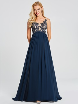 Ericdress A Line V Neck Applique Beaded Long Evening Dress