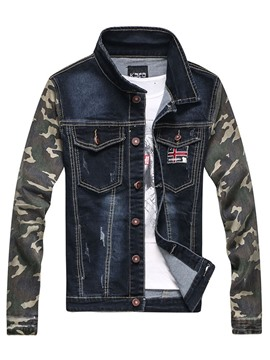 Ericdress Lapel Camouflage Print Patchwork Men's Denim Jacket