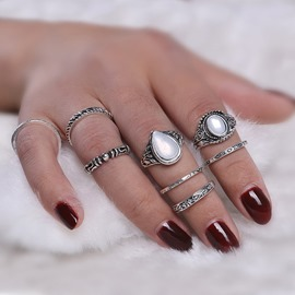Ericdress Best Seller Retro Totem Gem 8-Piece Ring Set