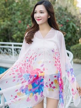 Ericdress Print Chiffon Long Sunscreen Cover-Up