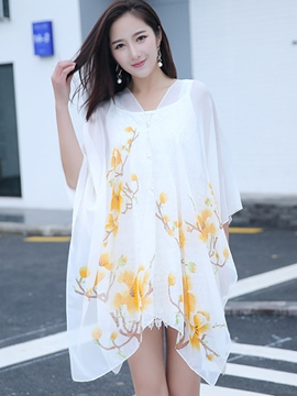 Ericdress Lightness Flower Print Chiffon Beach Cover Ups