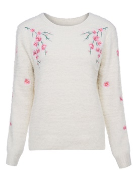Ericdress Floral Embroidery Pullover Knitwear