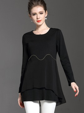 Ericdress Mid-Length Plain Plus-Size T-shirt