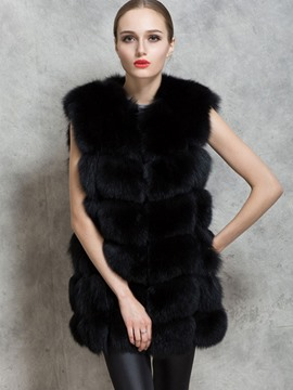 Ericdress I Type Fur Plain Vest