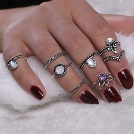 Ericdress Best Seller Totem Gem Diamante 8 Pieces Ring Set