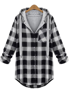 Ericdress Plaid Mid-Length Plus-Size Trench Coat