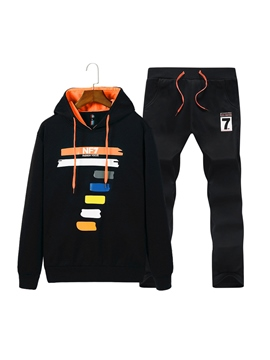 Ericdress Hooded Print Color Block Men's Sports Suit