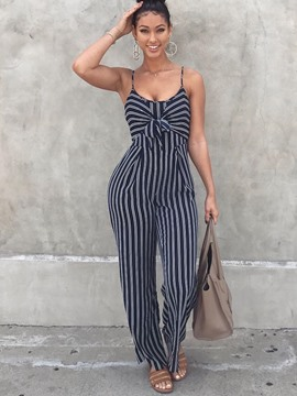 Ericdress Stripe Print Strap Jumpsuits Pants