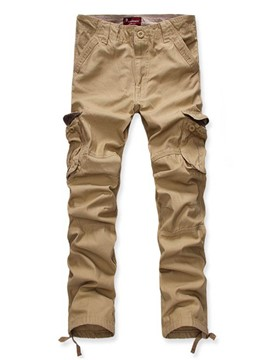 Ericdress Straight Pocket Solid Color Men's Casual Pants