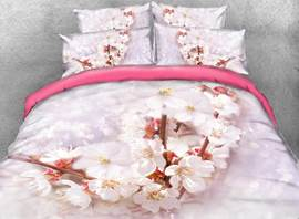 Vivilinen 3D Cherry Blossom Printed Cotton 4-Piece Bedding Sets/Duvet Covers
