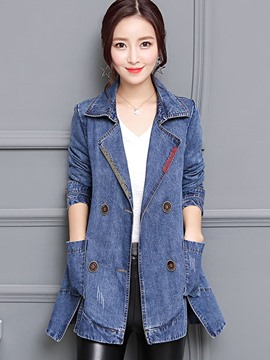Ericdress Slim Mid-Length Button Pocket Denim Jacket