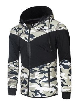 Ericdress Camouflage Print Color Block Men's Hoodie