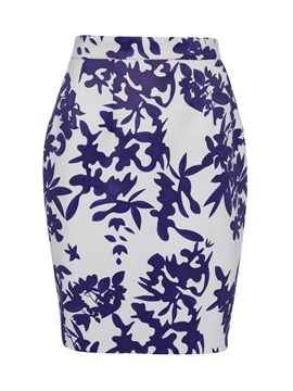Mid-Waist Floral Print Bodycon Women's Skirt