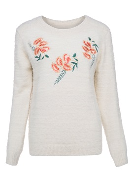 Ericdress Round Neck Plant Embroideried Pullover Sweater