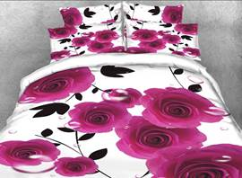 Vivilinen 3D Rosy Rose Printed Cotton 4-Piece White Bedding Sets/Duvet Covers