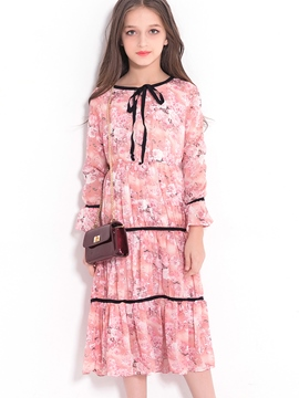 Ericdress Floral Pleated Bowknot Girl's Long-Sleeve Dress