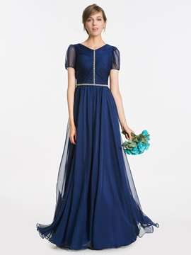 Ericdress V Neck Short Sleeves Beaded A Line Bridesmaid Dress