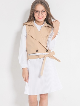 Ericdress Stylish Solid Color Long Sections Skirt With Bowknot Belt Lapel Collar Sleeveless Outerwear