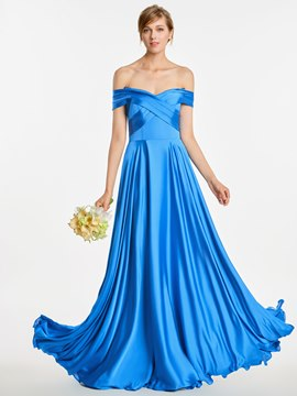 Ericdress Off The Shoulder Pick Ups A Line Long Bridesmaid Dress