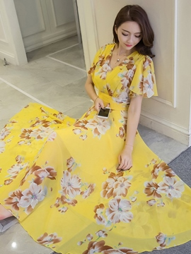 Ericdress Ruffle Sleeve Print Expansion Maxi Dress