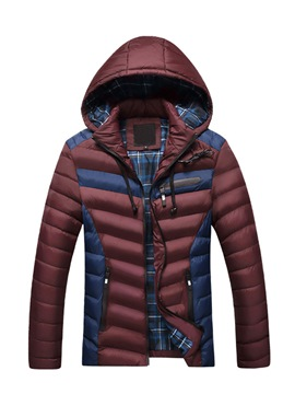 Ericdress Hooded Patchwork Slim Men's Down Coat