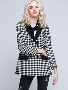 Ericdress Plaid Button Pocket Mid-Length Blazer